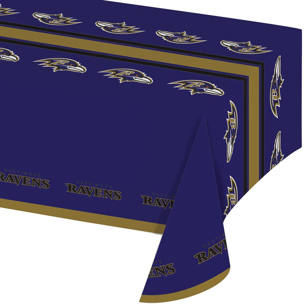 (12ct) Baltimore Ravens Plastic Tablecover 54''x102'', All Over Print