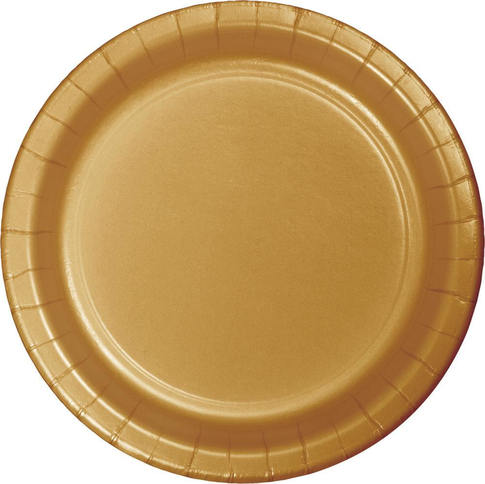 (240ct) Glittering Gold 6.75 Inch Paper Luncheon Plates