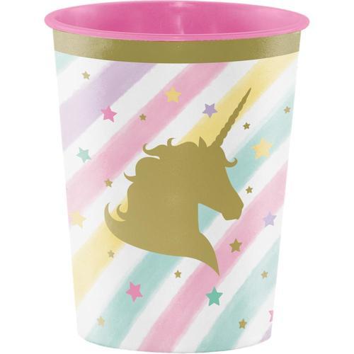 Unicorn Sparkle Plastic Keepsake Cup 16 Oz. (Case Pack of 12)