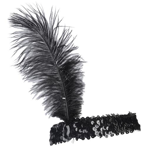 Ostrich Feather Head Band Black