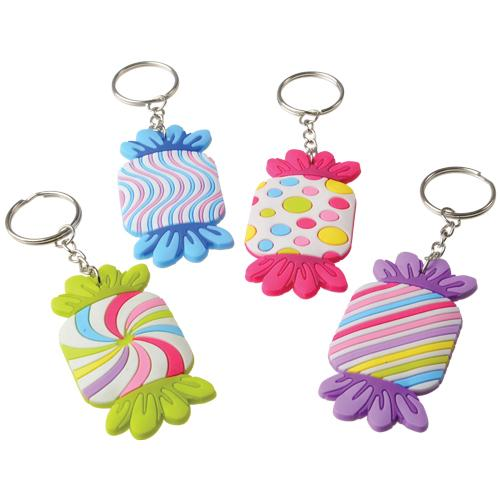 Candy Rubber Keychains (pack of 12)