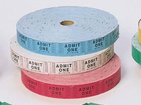 White Stock Tickets - Admit One - 2000 per roll