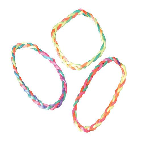 Neon Braided Bracelets - 48 Pieces