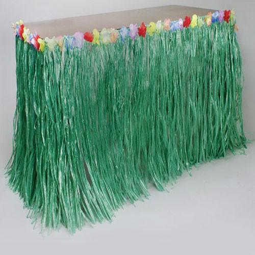 Luau Party Table Skirt With Flowers - Green