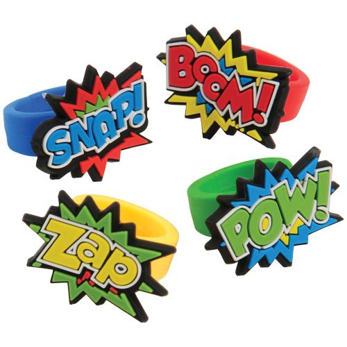 Superhero Rubber Rings (1 dozen)