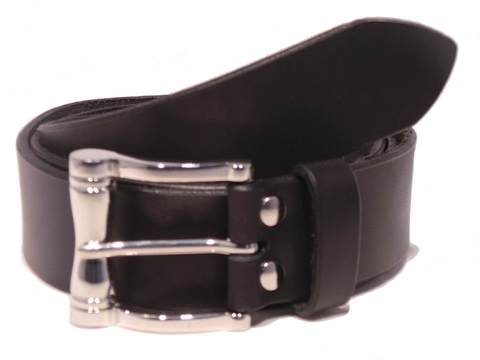 """Polished Silver Scroll Buckle 1 1/2"""" Leather Belt"""