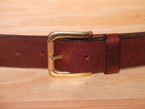 Brass Roller 1 1/2 Inch Leather Belt