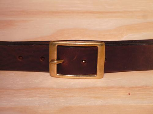 Brass Rectangle 1 1/4 Inch Leather Belt