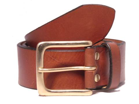 Brass Half Square 1 3/4 Inch Leather Belt