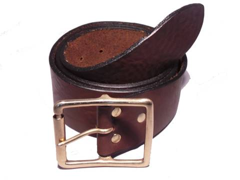 Brass Rectangle Roller 2 Inch Leather Belt