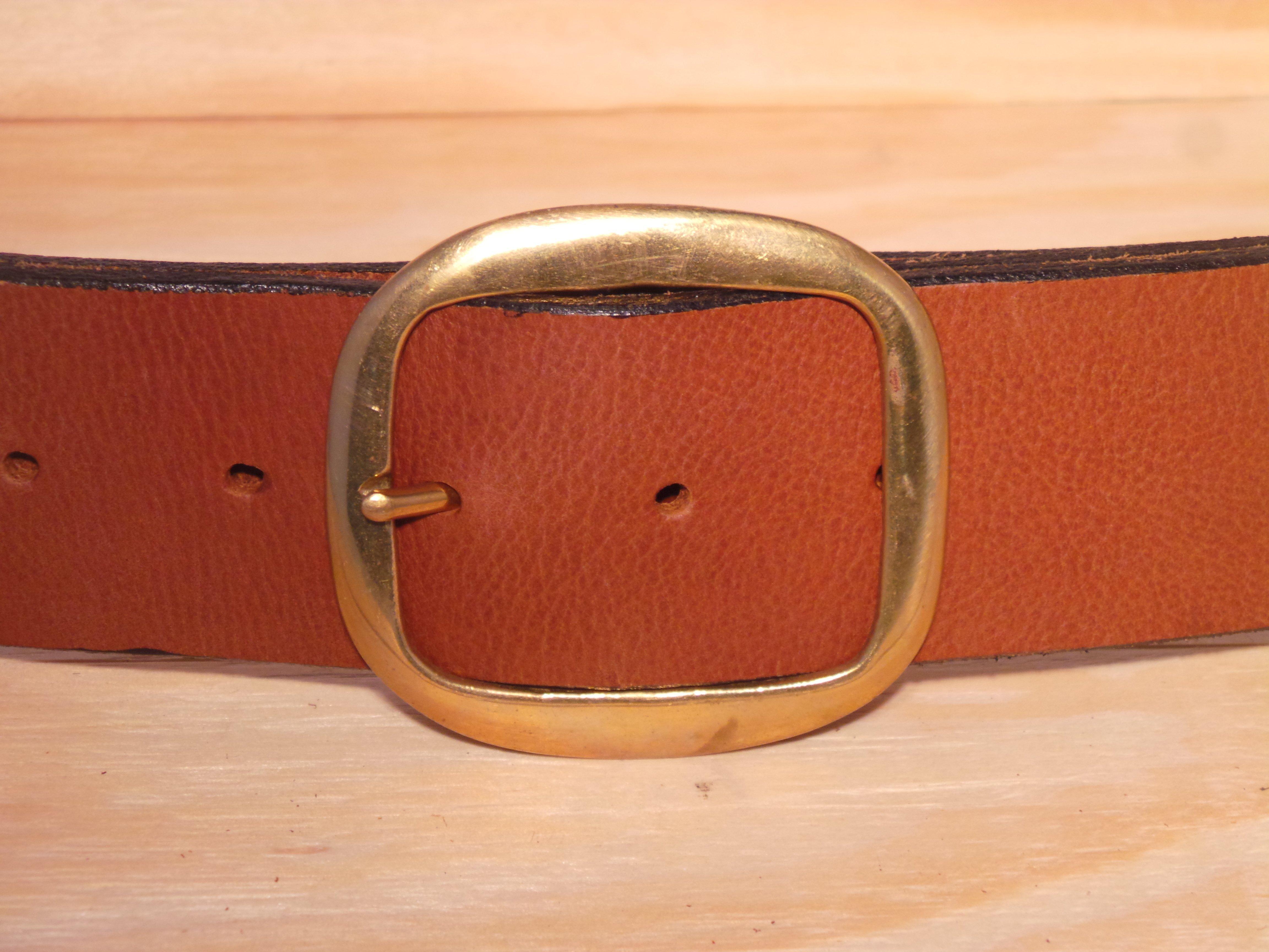 Designer Leather Belt Brass Oval 2 Inch