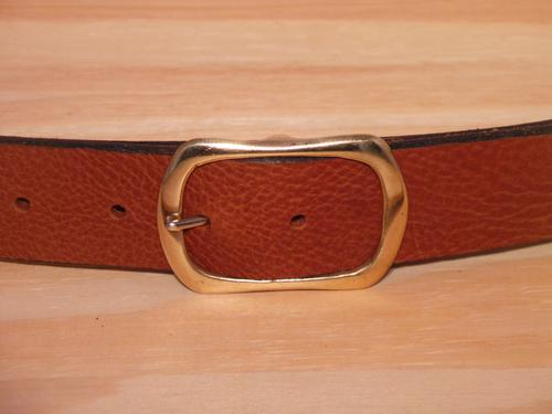 Brass Rectangle Rounded End Leather Belt