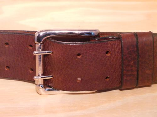 2 Pin Silver Roller 2 Loop 2 Inch Leather Belt