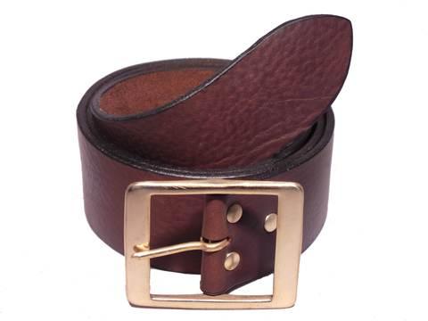 Brass Rectangle 2 Inch Genuine Leather Belt