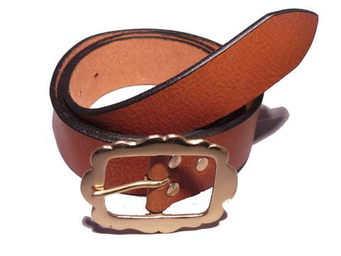 Brass Rectangle Rounded Sides 1 1/2 Inch Leather Belt