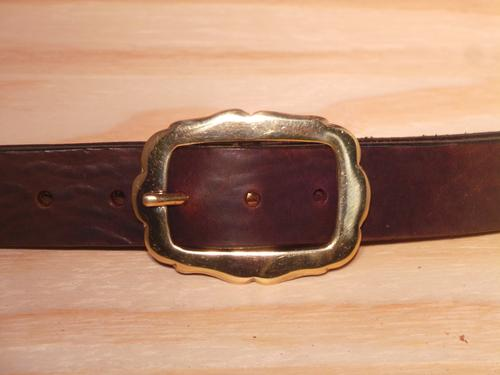 Brass Rectangle Rounded Sides 1 1/4 Inch Leather Belt
