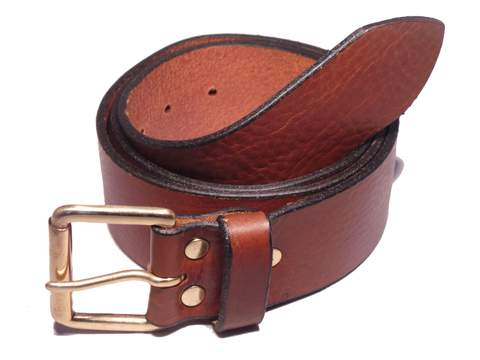 Brass Classic Roller 1 3/4 Inch Leather Belt
