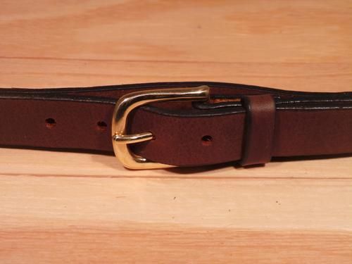 Brass Half Square 1 Inch Leather Belt