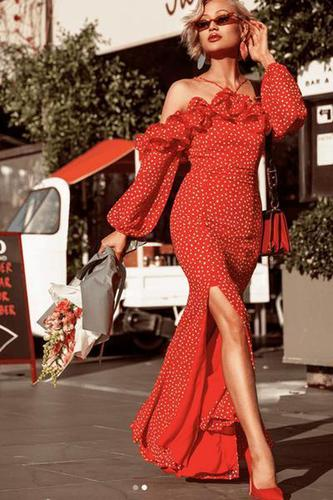 Cocktail Red Dotted Maxi Dress