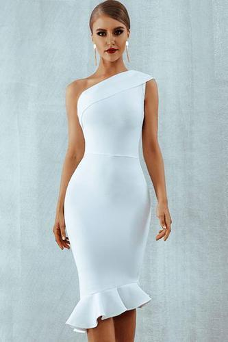 Materialistic Gal One Shoulder Bandage Dress