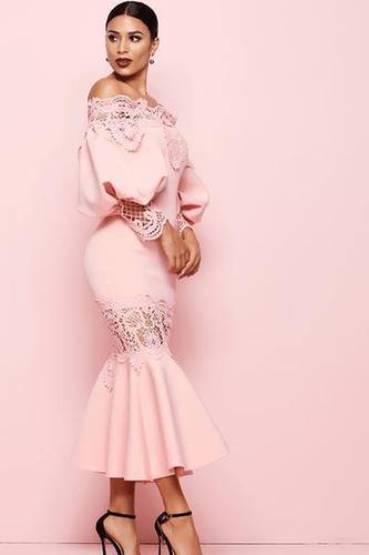 Nicole Puff Sleeve Pink Maxi Dress