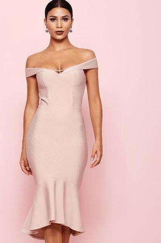 Follow Your Heart Midi Off Shoulder Bandage Dress