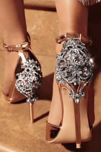 Majesty Open Toe Embellished Crystal Sandal Pump