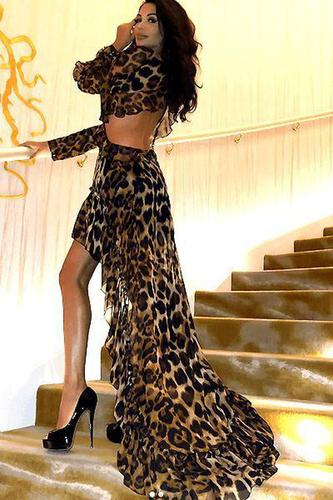 Key To My Heart Chiffon Ruffled Leopard Print Dress