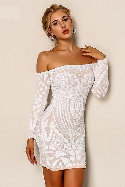 Yessi Sequin Off Shoulder Dress