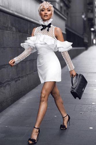 Palia White Crochet Ruffled Bandage Dress