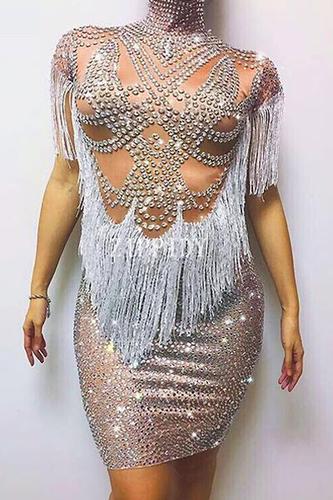 Statement Tassel Rhinestonel Embellished Dress