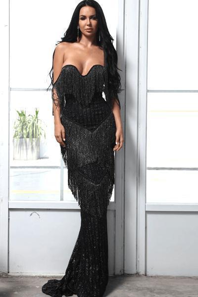 Julia Black Glitter Tassel Evening Dress