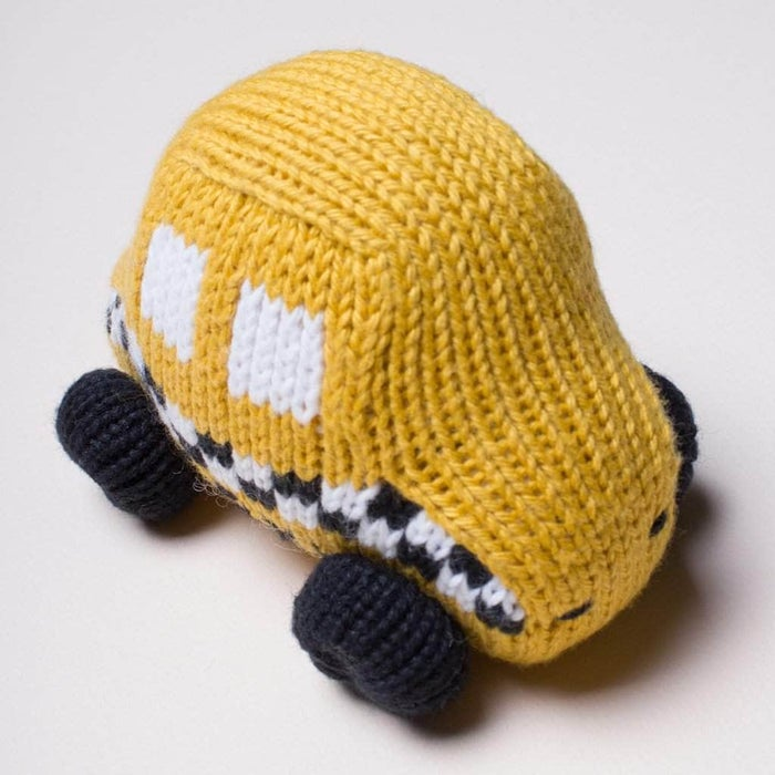 Estella Organic Cotton Handmade Baby Toy - Yellow Taxi Rattle