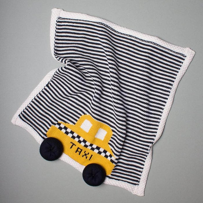 "Estella Striped Organic Cotton Lovey or Baby Blanket - Yellow Taxi 14"" x 14"""