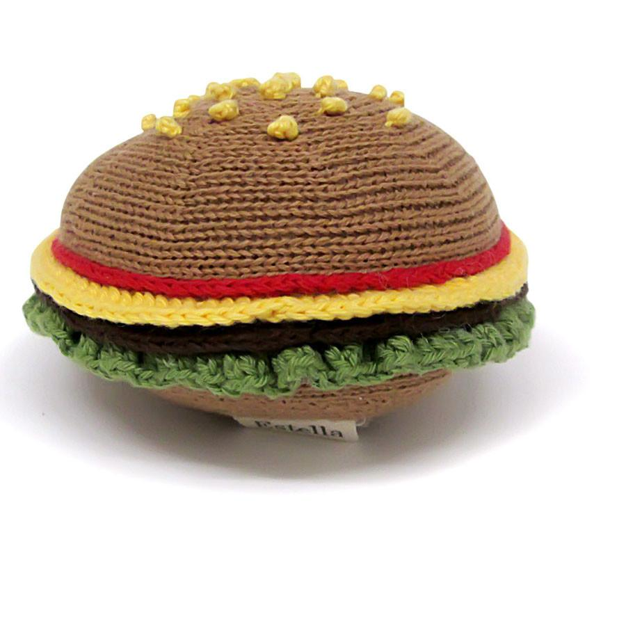 Organic Hamburger Rattle Baby Toy
