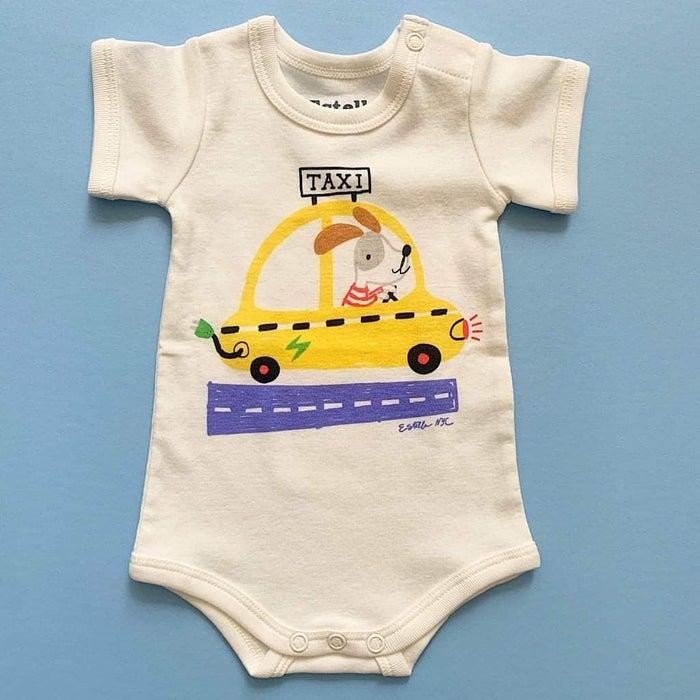 Estella White Organic Cotton Baby One-Piece - Taxi 0–3, 3–6, 6–12, 12–18M