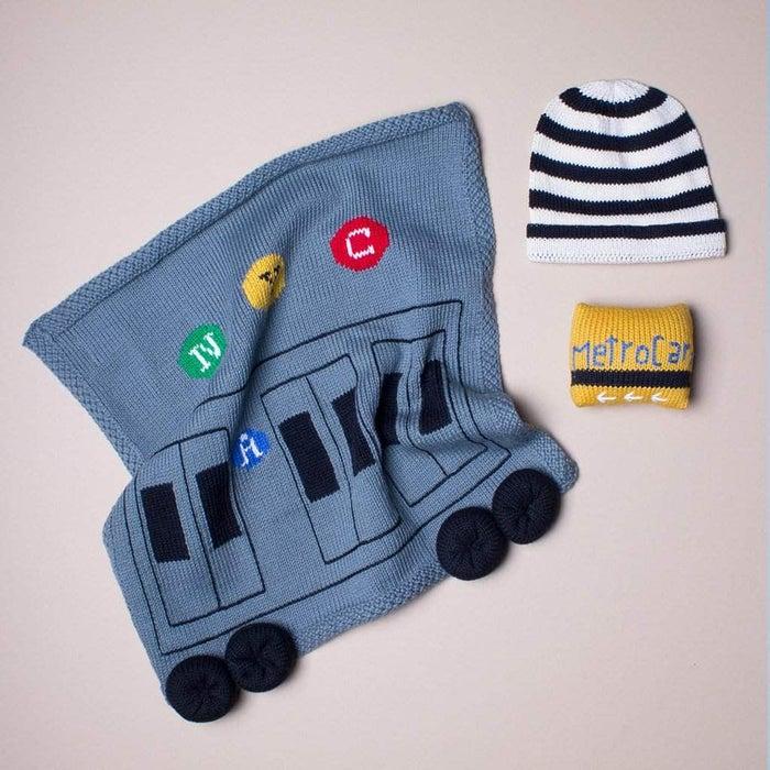Organic MTA Train Baby Blanket Gift Set