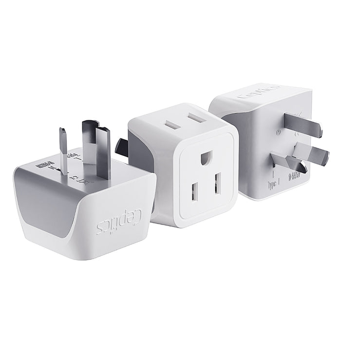 Australia, China Travel Adapter - Type I - Ultra Compact (CT-16, 3 Pack)