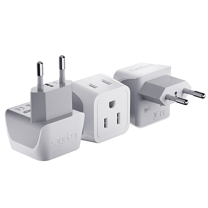 European Travel Adapter - Type C - Ultra Compact (CT-9C, 3 Pack)