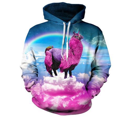 3D Printed Hoodies - Rainbow  Long Sleeve Loose Sweatshirt