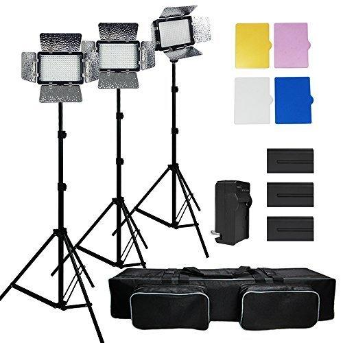 Julius Studio 3x 216 Barndoor Continuous LED Video Lighting kit Dimmable Panel Camera for Canon Nikon Sony and DSLR Cameras Li-Ion Battery and ChargerColor FiltersPremium Carry Bag JSAG159