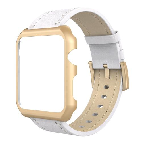 Simpeak Apple Watch Band with Case 38mm Genuine Leather iWatch Band Replacement Strap with Metal Apple Watch Case for 38 mm Apple Watch Series 3 Series 2 Series 1 White/Rose Gold white strap/rose gold case