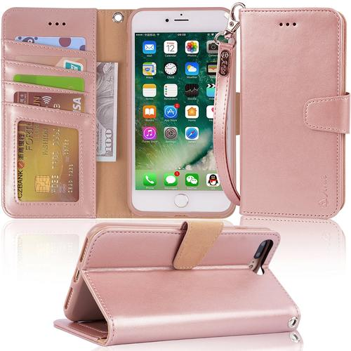 iphone 7 plus case, iPhone 8 Arae PU leather wallet Case with Kickstand and...