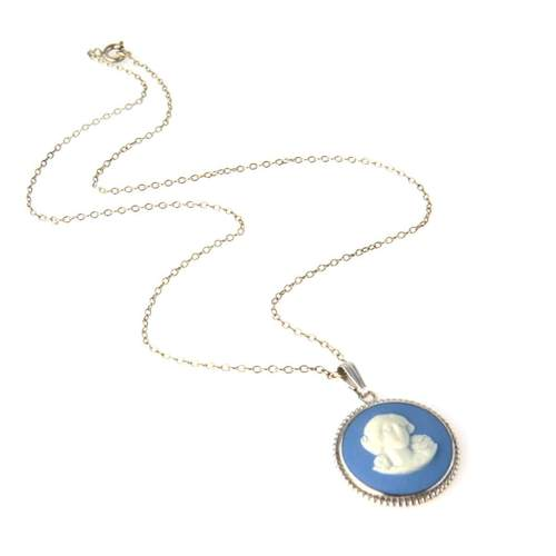 Sterling Silver Blue Wedgwood Pendant Necklace