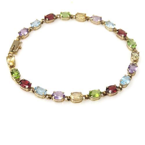 Multi Gemstone Links Line Bracelet 10k Gold