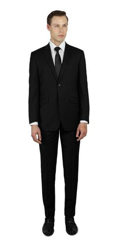 BLACK TWO BUTTON 100% WOOL SUIT