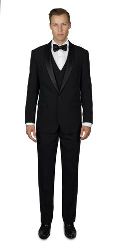 BLACK TUXEDO WITH SHAWL LAPEL THREE PIECE TR STRETCHTECH