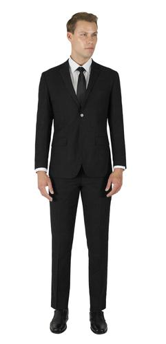 BLACK TONE-ON-TONE TWO BUTTON TR SUIT
