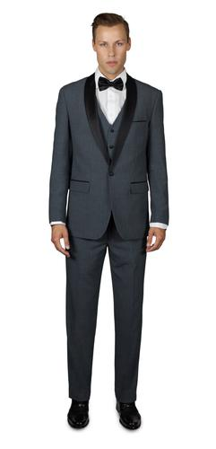 MEDIUM GREY TUXEDO WITH SHAWL LAPEL THREE PIECE TR STRETCHTECH SUIT