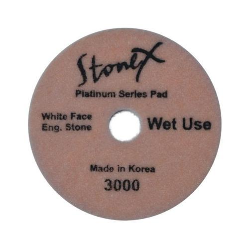"Stonex Wet White Face Engineered Stone Flexible Polishing Pads - Platinum Series - 100mm / 4"""
